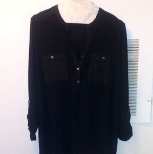 Black pullover top has satin accents very cute